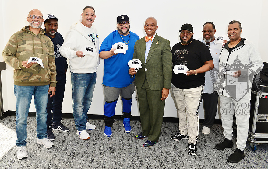 MIAMI, FLORIDA - JANUARY 29: Commissioned and City of Miami Gardens Mayor Oliver Gilbert (6th from L) attend the 21st Annual Super Bowl Gospel Celebration Press Conference at James L Knight Center on January 29, 2020 in Miami, Florida.  ( Photo by Johnny Louis / jlnphotography.com )