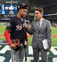 HOUSTON - OCTOBER 29: Tom Verducci speaks to Nationals left fielder Juan Soto following World Series Game 6: Washington Nationals at Houston Astros on Fox Sports at Minute Maid Park on October 29, 2019 in Houston, Texas. (Photo by Frank Micelotta/Fox Sports/PictureGroup)