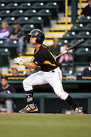 Bradenton Marauders shortstop Adam Frazier (10) at bat during a game against the Jupiter Hammerheads on April 19, 2014 at McKechnie Field in Bradenton, Florida.  Bradenton defeated Jupiter 4-0.  (Mike Janes/Four Seam Images)