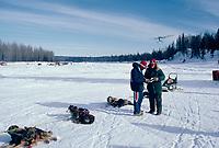 Plane Lands as Team Checks in at Skwentna Checkpoint Alaska