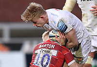26th March 2021; Kingsholm Stadium, Gloucester, Gloucestershire, England; English Premiership Rugby, Gloucester versus Exeter Chiefs; George Barton of Gloucester tackles Josh Hodge of Exeter Chiefs