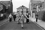 Burscough Lancashire UK Good Friday revival Pace Egg Easter Play. 13th April 1974. Maurice Haynes reviving local custom, he is not local to the area. They collected £40-00 in 3 hrs for the Red Cross.