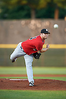 Birmingham Barons pitcher Tyler Barnette (44) delivers a pitch during a game against the Biloxi Shuckers on May 23, 2015 at Joe Davis Stadium in Huntsville, Alabama.  Birmingham defeated Biloxi 2-0 as the Shuckers are playing all games on the road, or neutral sites like their former home in Huntsville, until the teams new stadium is completed.  (Mike Janes/Four Seam Images)