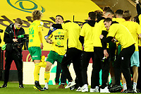 17th April 2021; Carrow Road, Norwich, Norfolk, England, English Football League Championship Football, Norwich versus Bournemouth; Norwich City players celebrate winning promotion to the Premier League
