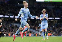 21st September 2021; Etihad Stadium,Manchester, England; EFL Cup Football Manchester City versus Wycombe Wanderers;  Cole Palmer of Manchester City celebrates after scoring to give his side a 6-1 lead after 90 minutes