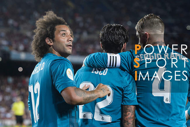 Marcelo da Silva of Real Madrid celebrating the opening goal of Real Madrid with his teammates during the Supercopa de Espana Final 1st Leg match between FC Barcelona and Real Madrid at Camp Nou on August 13, 2017 in Barcelona, Spain. Photo by Marcio Rodrigo Machado / Power Sport Images