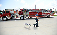 Martin Striefler, a firefighter with the Fayetteville Fire Department, and his dog, Ember, walk Tuesday, July 27, 2021, around Ladder 6 while training on the department's new tiller truck off Hollywood Avenue. The department bought its first tiller truck for $1.4 million using money from its share of city sales tax revenue. Early voting starts Tuesday, and Election Day is Aug. 10, to continue the 1-cent tax for operations and some capital expenditures. Visit nwaonline.com/210728Daily/ for today's photo gallery.<br /> (NWA Democrat-Gazette/Andy Shupe)