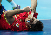 08 AUG 2012 - LONDON, GBR - Raul Entrerrios Rodriguez (ESP) of Spain recovers after a challenge during the men's London 2012 Olympic Games quarter final match against France at the Basketball Arena in the the Olympic Park, in Stratford, London, Great Britain .(PHOTO (C) 2012 NIGEL FARROW)