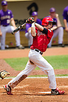 Stony Brook Seawolves outfielder Travis Jankowski #6 swings during the NCAA Super Regional baseball game against LSU on June 9, 2012 at Alex Box Stadium in Baton Rouge, Louisiana. Stony Brook defeated LSU 3-1. (Andrew Woolley/Four Seam Images)