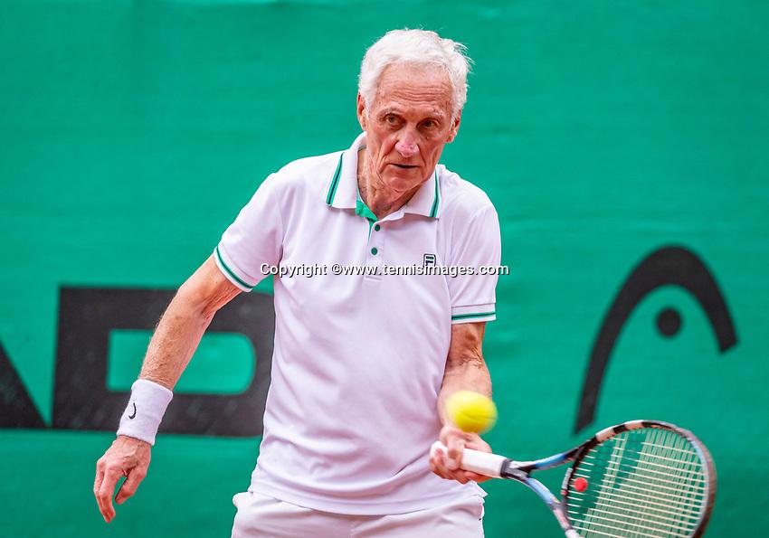 Hilversum, The Netherlands,  August 17, 2021,  Tulip Tennis Center, NKS, National Senior Tennis Championships, Men's 80+  Peter Korver  (NED)  <br /> Photo: Tennisimages/Henk Koster