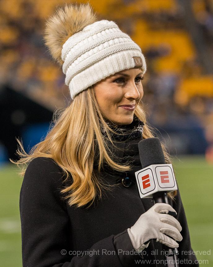 ESPN sideline reporter Laura Rutledge. The North Carolina Tarheels defeated the Pitt Panthers football team 34-31 at Heinz Field, Pittsburgh, Pennsylvania on November 9, 2017.