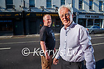Ger Hennessy of Hennessy's bar in Castle street, Tralee and Aidan O'Connor of the Greyhound bar pictured outside Hennessy's which was renamed temporarily for shooting of the movie Joyride starring Olivia Colman.