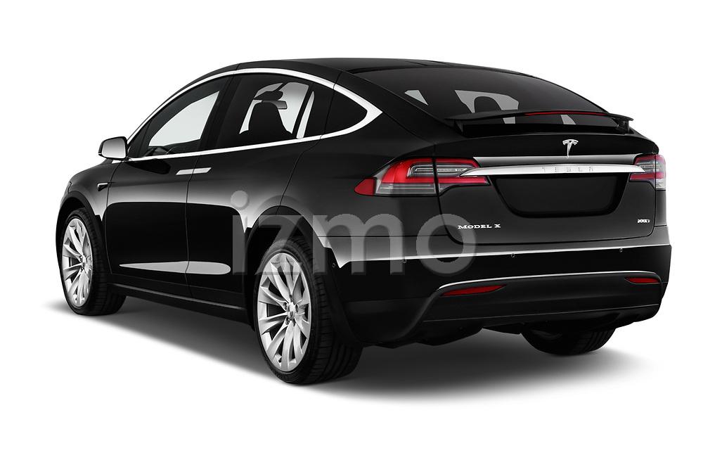 Car pictures of rear three quarter view of a 2019 Tesla Model X 100D 5 Door SUV angular rear