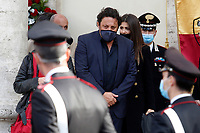 Actor Enrico Brignano crying during the funeral of the Italian actor Gigi Proietti. The actor was taken to the Globe Theatre for a short ceremony before the one in the church of Artist in Piazza del popolo.<br /> Rome (Italy), November 5th 2020<br /> Photo Samantha Zucchi Insidefoto