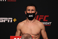 30th April 2021; Las Vegas, Nevada, USA;  Merab Dvalishvili poses on the scale during the UFC Fight Night: Reyes versus  Prochazka Weigh-in at UFC Apex on April 30, 2021, in Las Vegas, Nevada.