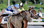7 August 10: Blame (outsode, blue cap) and jockey Garret Gomez upset 1-2 favorite Quality Road to win the Whitney Handicap at Sratoga Race Course in  Saratoga Springs, New York.