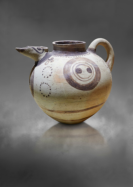 Minoan clay polychrome pithoid jar with painted circles, Akrotiri, Thira (Santorini) National Archaeological Museum Athens. 17th-16th cent BC.