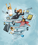 People with laptop and mobile phones trapped in twister depicting internet addiction