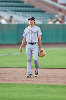 Coco Montes (19) of the Grand Junction Rockies on defense against the Ogden Raptors at Lindquist Field on July 25, 2018 in Ogden, Utah. The Rockies defeated the Raptors 4-0. (Stephen Smith/Four Seam Images)