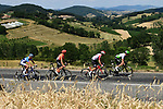 The breakaway group featuring Ben King (USA) Team Dimension Data, Alessandro De Marchi (ITA) CCC Team, Thomas De Gendt (BEL) Lotto-Soudal and Niki Terpstra (NED) Total Direct Energie during Stage 8 of the 2019 Tour de France running 200km from Macon to Saint-Etienne, France. 13th July 2019.<br /> Picture: ASO/Alex Broadway   Cyclefile<br /> All photos usage must carry mandatory copyright credit (© Cyclefile   ASO/Alex Broadway)