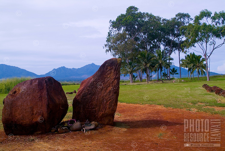Historic Kukaniloko State Monument (Royal Birthing Stones) in Wahiawa, Oahu.