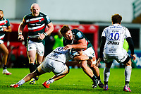 21st November 2020; Welford Road Stadium, Leicester, Midlands, England; Premiership Rugby, Leicester Tigers versus Gloucester Rugby; Jasper Wiese of Leicester Tigers is tackled by Freddie Clarke of Gloucester Rugby