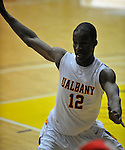 13 December 2008: Albany's Scotty McRae defends the inbounds pass during a game between Canisius and Albany won by Albany 74-46 at SEFCU Arena in Albany, New York.