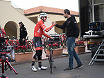 """Trek-Segafredo rider John Degenkolb (GER) has been riding and racing with success his new Project One Madone.The new """"Chasin' Aces"""" theme features a Black Moss base color, with subtle pin-striping inspired by John's beloved Café Racer motorcycle outlining the frame. Red fades inside the fork and chain stays pair with hints of silver to complete this limited-edition design. 7th February 2018.<br /> Picture: Trek Factory Racing 