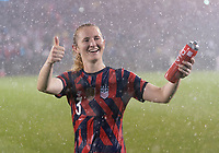 EAST HARTFORD, CT - JULY 1: Samantha Mewis #3 of the USWNT waves to fans during a game between Mexico and USWNT at Rentschler Field on July 1, 2021 in East Hartford, Connecticut.