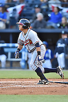 Rome Braves catcher Jonathan Morales (8) swings at a pitch during a game against the Asheville Tourists at McCormick Field on April 14, 2016 in Asheville, North Carolina. The Tourists defeated the Braves 5-4. (Tony Farlow/Four Seam Images)