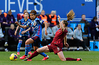 HARRISON, NJ - MARCH 08: Narumi Miura #17 of Japan is defended by Keira Walsh #4 of England during a game between England and Japan at Red Bull Arena on March 08, 2020 in Harrison, New Jersey.