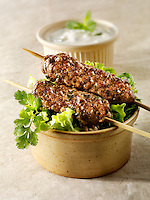 Kofta kebabs with salad & yoghurt