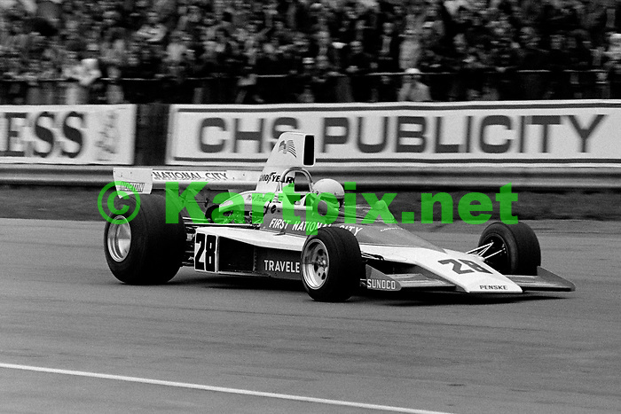 """Mark Donohue nicknamed """"Captain Nice,"""" Seen here at the wheel of his Penske PC1-Ford at the 1975 Daily Express International trophy meeting at Silverstone, the American sadly succumbed to injuries sustained in the morning warmup for that years Austrian Grand Prix."""