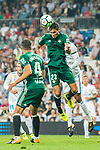 Aissa Mandi of Real Betis heads the ball during the La Liga 2017-18 match between Real Madrid and Real Betis at Estadio Santiago Bernabeu on 20 September 2017 in Madrid, Spain. Photo by Diego Gonzalez / Power Sport Images