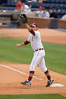 First baseman Jack Posey #5 of the Florida State Seminoles stretches to catch the baseball at Durham Bulls Athletic Park May 24, 2009 in Durham, North Carolina. The Virginia Cavaliers defeated the Florida State Seminoles 6-3 to win the 2009 ACC Baseball Championship.  (Photo by Brian Westerholt / Four Seam Images)