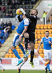 St Johnstone v Hamilton Accies…23.09.17…  McDiarmid Park… SPFL<br />Martin Woods gets the ball off Graham Cummins<br />Picture by Graeme Hart. <br />Copyright Perthshire Picture Agency<br />Tel: 01738 623350  Mobile: 07990 594431