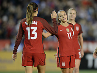 San Diego, Ca - Sunday, January 21, 2018: Alex Morgan Mallory Pugh during a USWNT 5-1 victory over Denmark at SDCCU Stadium.