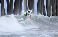 Huntington Beach, CA - Sunday July 30, 2017: Dylan Graves during a Qualifying Series (QS) trials round heat in the 2017 Vans US Open of Surfing on the South side of the Huntington Beach pier.