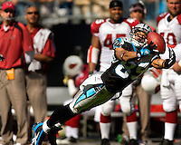 Carolina Panthers wide receiver Steve Smith (89) dives for a pass against the Arizona Cardinals during an NFL football game at Bank of America Stadium in Charlotte, NC.
