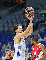13th October 2021; Wizink Center; Madrid, Spain; Turkish Airlines Euroleague Basketball; game 3; Real Madrid versus AS Monaco; Sergio Llull (Real Madrid Baloncesto) shoots a free throw