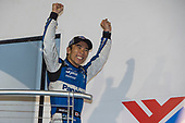 Winner Takuma Sato, Rahal Letterman Lanigan Racing Honda is introduced on the podium
