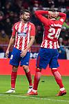 Atletico de Madrid Diego Costa and Jose Maria Gimenez during La Liga match between Atletico de Madrid and Valencia C.F. at Wanda Metropolitano in Madrid , Spain. February 04, 2018. (ALTERPHOTOS/Borja B.Hojas)
