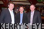 Pictured at the Fealebridge and Headley's Bridge Co-Op 45th Annual Social at the Devon Inn hotel, Templeglantine on Friday night were L-R: PJ O'Donnell, Abbeyfeale, Declan Mangan,, Knocknagoshel, William O'Donnell, Abbeyfeale.