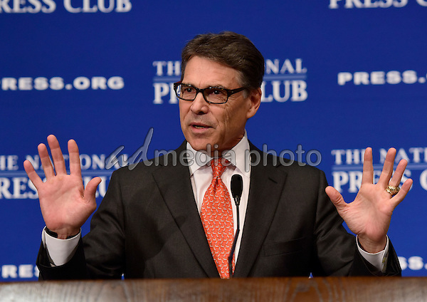 """Former Governor Rick Perry (Republican of Texas), a candidate for the 2016 Republican Party nomination for President, speaks on """"The cycle of hopelessness and lost opportunity that many Americans feel trapped in"""" at the National Press Club in Washington, D.C. on Thursday, July 2, 2015. Photo Credit: Ron Sachs /CNP/AdMedia"""