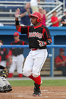 Batavia Muckdogs catcher Audry Perez (4) during a game vs. the Jamestown Jammers at Dwyer Stadium in Batavia, New York July 18, 2010.   Batavia defeated Jamestown 6-1.  Photo By Mike Janes/Four Seam Images