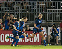 East Hartford, Connecticut - Sunday July 29, 2018:  2018 Tournament of Nations match between the women's national teams of Australia (AUS) (yellow) and United States (USA) (blue). United States Women's team (uSWNT) tied Australia, 1-1, at Pratt & Whitney Stadium at Rentschler Field.<br /> Goal celebration.