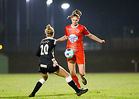 Marie Bougard (10) of Woluwe pictured in front of former teammate Sheila Broos (20) of Eendracht Aalst during a female soccer game between FC Femina White Star Woluwe and Eendracht Aalst on the sixth matchday in the 2021 - 2022 season of Belgian Scooore Womens Super League , friday 8 th of october 2021  in Woluwe , Belgium . PHOTO SPORTPIX | KRISTOF DE MOOR