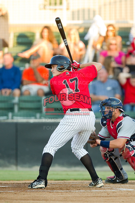 Jason Coats (17) of the Kannapolis Intimidators at bat against the Rome Braves at CMC-Northeast Stadium on August 24, 2013 in Kannapolis, North Carolina.  The Intimidators defeated the Braves 6-1.  (Brian Westerholt/Four Seam Images)