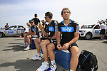 Sky Procycling team riders Davide Appollonio (ITA), Juan Antonio Flecha (ESP), Ian Stannard and Jeremy Hunt (GBR) chill out before the start of Stage 4 of the 2012 Tour of Qatar from Al Thakhira to Madinat Al Shamal, Qatar. 8th February 2012.<br /> (Photo Eoin Clarke/Newsfile)