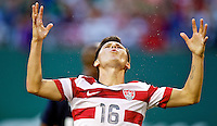 PORTLAND, Ore. - July 9, 2013: Jose Torres reacts after missing a shot in the first half. The US Men's National team plays the National team of Belize during the 2013 Gold Cup at at JELD-WEN Field.